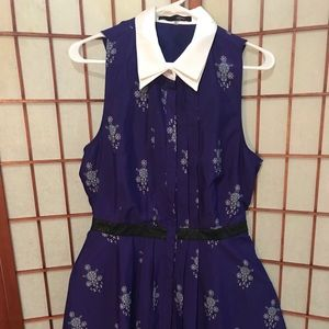 Mini Print Collared Summer Dress